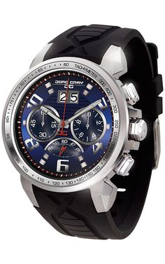 PRE-SALE Jorg Gray JG5600-23 Men's Watch Chronograph Blue Dial With Integrated Black Silicone Strap
