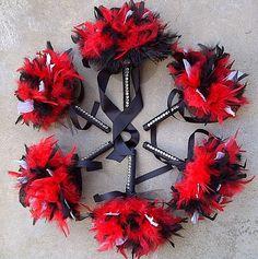 Feather Wedding Bouquet  Red Black & White by kristindangerdesigns, $36.00