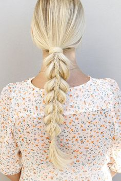 This stunning stacked braid looks complicated, but it's actually almost as easy as creating a pull-through ponytail.