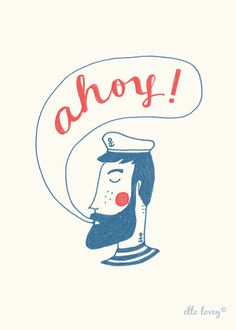 This sweet bearded sailor says Ahoy! He would be the perfect company for any room. This charming print would look wonderful in a nautical themed