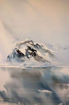 """""""Nord"""" by Hilde Eilertsen Sletvold - Hole Artcenter as Watercolor Painting Techniques, Watercolor Artwork, Watercolor Artists, Watercolor Landscape, Watercolor And Ink, Abstract Landscape, Landscape Paintings, Winter Art, Winter Landscape"""