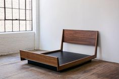 For Sale on - A contemporary, handmade, floating platform bed with headboard and footboard. Solid hardwood bed frame and black opaque lacquered mdf platform base. Floating Platform Bed, Floating Bed Frame, Floating Headboard, Headboard And Footboard, Headboards For Beds, Benjamin Moore Colors, Bed Design, House Design