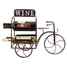 Complete your rustic scheme with this metal wine rack, featuring a tricycle design and space for four bottles. A stylish piece, it matches perfectly with bare wood floors and vintage-style artwork.  Product: Wine rackConstruction Material: MetalColour: Rusty brownFeatures: Holds up to four bottlesDimensions: 53 cm H x 24 cm W x 43.5 cm D