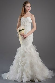 gorgeous mermaid wedding gown with tier skirt