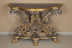 Console Table, c. 1740  Gilded bronze, lapis lazuli, chased and silvered copper, unidentified soft wood 94 x 141 x 64.1 cm (37 x 55 1/2 x 25 1/4 in.)  Restricted gift of Mr. and Mrs. Medard W. Welch, 1971.932