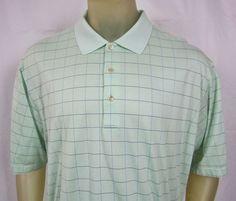 Peter Millar Mens Light Green Check Golf Polo Shirt Double Mercerized Cotton XL #PeterMillar #PoloRugby