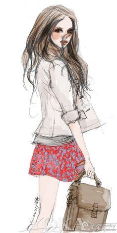 Illustration by: Xunxun Missy Fashion Illustration Techniques, Fashion Illustration Sketches, Fashion Design Sketches, Sketch Fashion, Moda Fashion, Fashion Art, Fashion Models, Girl Fashion, Trendy Fashion