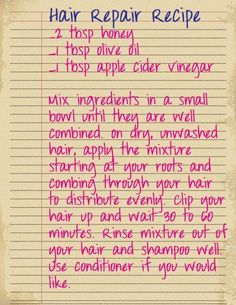 Hair Repair Recipe- instead of olive oil I might try coconut oil...