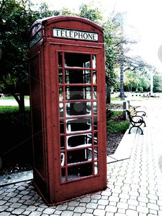 red vintage telephone booth