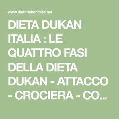 DIETA DUKAN ITALIA : LE QUATTRO FASI DELLA DIETA DUKAN - ATTACCO - CROCIERA - CONSOLIDAMENTO - CLICCA