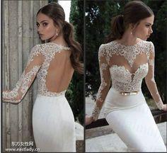 Free Shipping Vintage Sheer Lace Long Sleeves Open Back White Satin Mermaid Wedding Dresses 2014 Bridal Vestidos De Novia BE-640