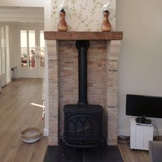 Wood Stove Wall, Stove Fireplace, Fireplace Remodel, Fireplace Design, Pellet Stove, Barbie Dream House, Fireplace Surrounds, Fixer Upper, Home Interior Design