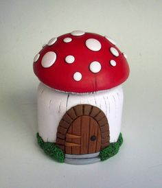 Fairy Door Mushroom Jar/ Vase Polymer Clay over by MandarinMoon