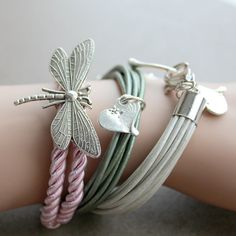 Pink cord bracelet with dragonfly charm by AlixHDesigns on Etsy, $20.00
