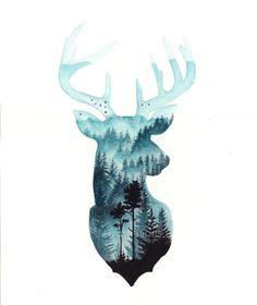 Watercolor Paintings Nature, Watercolor Paint Set, Watercolor Galaxy, Pretty Art, Cute Art, Black And White Art Drawing, Cat Art Print, Deer Art, Mini Paintings