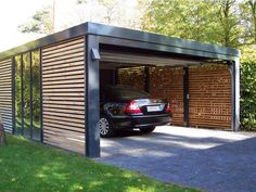 Home design, Black Minimalist Design Ideas Carport With Transparent Glass And Build With Plate Materials: What to consider when choosing carport designs
