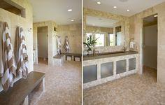 Custom designed beach bathroom with poured concrete trough style sink