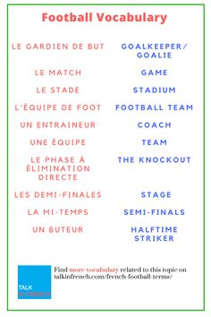 Are you a die-hard fan of Football? Give new wings to your sports vocabulary by learning them in French too. + download the list in PDF format for free! Get it here: https://www.talkinfrench.com/french-football-terms/