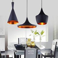 DE Anhänger, 3-Licht, Industrie-Schwarz-Eisen-Aluminium-Spinning: Amazon.de: Beleuchtung