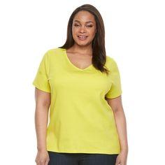 Plus Size Croft & Barrow® Essential V-Neck Tee, Women's, Size: