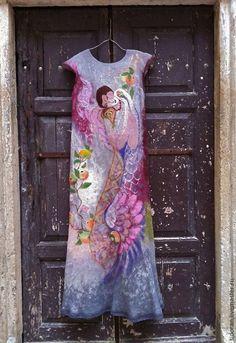 Купить Вдох - Валяние, Мокрое валяние, одежда для женщин, платье, ручная авторская работа, шерсть