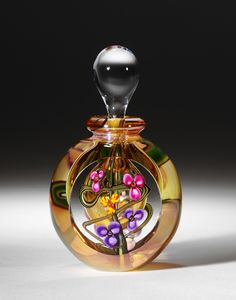 Hand blown art glass perfume bottle by Roger Gandelman at www.gandelmanglass.com
