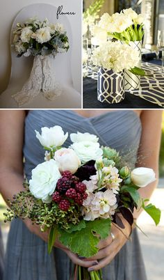 Wedding Flowers:  White bouquet with Lace Ribbon: SMP  Berries: SMP  Fabric covered vases: SMP