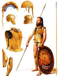 Greek hoplite panoply, c. 500-300BCE. Art by Steve Noon