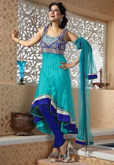 Turquoise Blue Anarkali Net Churidar Kameez