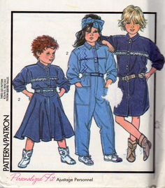 Style 1037, Girls Size 3, 4 and 5 Denim Shirts, Pull On Skirt, Pull On Pants, Loose Fit Shirts, Optional Eyelet Trim, Vintage 1986, Uncut by OnceUponAnHeirloom on Etsy