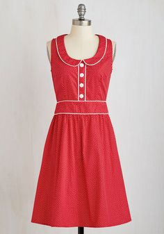 Carnival in Love Dress - Mid-length, Cotton, Woven, Red, White, Polka Dots, Print, Casual, Sleeveless, Better, A-line, Peter Pan Collar, Rockabilly, 60s, Quirky, Americana