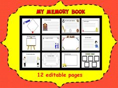 My Memory Book editable pages) by Carmela Fiorino Vieira Memory Books, My Memory, End Of Year Activities, Teacher Resources, Teaching Ideas, Favorite Subject, And July, School Fun, How To Memorize Things
