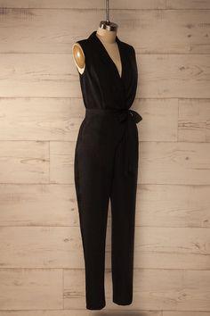 Samburg Black - Black plunging neckline jumpsuit