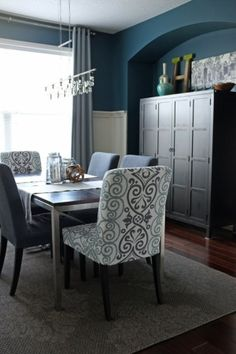gray teal mustard lime | ... Dining room reveal by teal & lime #dining room #teal #grey by jannie