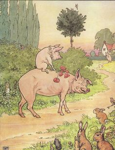 This Little Pig Went To Market  From Ring O Roses . Illustrated by L. Leslie Brooke . 1920s