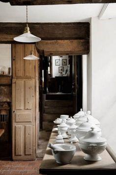 kitchen     Manoir de Berthouville, 17th century, Berthouville, Normandy, France      house of Charles Spada (USA), interior designer     featured in Veranda Magazine (January - February 2012)     photo: Alexander Bailhache     source