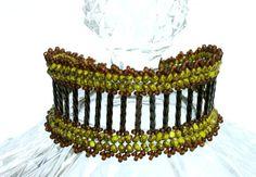 Beadwoven Seed Bead Bracelet In Olive Green Stone, Metallic Iris Brown, And Matte Brown