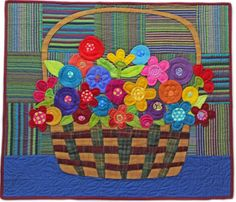 A Basket of Flowers by Linda Jenkins at Piece O' Cake Designs. From the book, Wool Applique the Piece O' Cake Way.