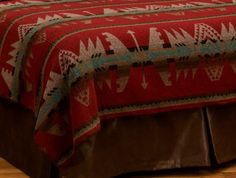 Yellowstone II Southwestern Bedspread by Wooded River (WD24530-) a wonderful choice for the Southwestern themed bedroom with its rich reds blended with browns, tans, and teal in a bold geometric design.
