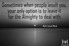 """Sometimes when people insult you, your only option is to leave it for the Almighty to deal with."" -Mufti Ismail Menk"
