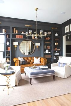 Home Interior And Gifts brass living room interior decor.Home Interior And Gifts brass living room interior decor Living Room Sofa, Home Living Room, Living Room Designs, Living Room Decor, Chesterfield Living Room, Living Room With Bookshelves, Chesterfield Library, Living Room Blue, Den Decor