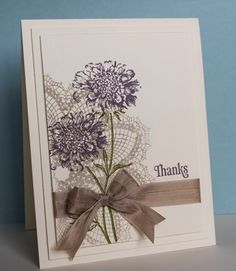 handmade thank you card ... quick trick ... layer large detailed stamps ... double and wide mats tone on tone ... perfect bow wrap ...