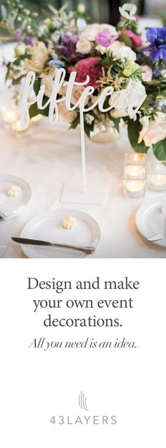 "Don't have another ""me too"" wedding. Use 43Layers to make it personal. Whether it's custom table numbers in the same font as your invitations, custom monogrammed stir sticks, hashtag signs, or a lifelike cake topper of you and your significant other, 43Layers helps you make your wedding distinctly you. Check us out at 43layers.com and get started today."
