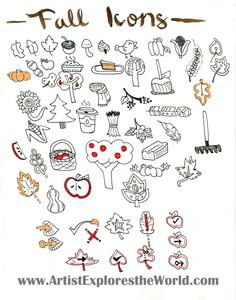 Fall Headers and Icons For Your Bullet Journal Fall Drawings, Doodle Drawings, Bullet Journal Junkies, Bullet Journal Inspiration, Bullet Journals, Laura Lee, Doodle Art Journals, Doodle Inspiration, Sketch Notes