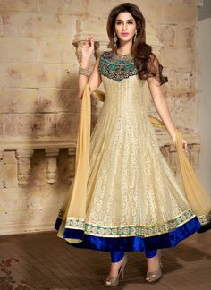 Blissful Beige Net ankle Length Anarkali Suit