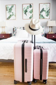 travel luggage millennial pink luggage, away blush luggage Pink Suitcase, Pink Luggage, Cute Luggage, Suitcase Packing, Carry On Suitcase, Carry On Luggage, Luggage Sets, Travel Packing, Travel Luggage