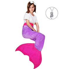 Maidream Mermaid Tail Blanket Upgraded Double-layered Soft Cozy Fleece Warm Sleeping Bag with Necklace Gift for Kids and Teens(Ages 3-12) (Purple/Rose Red)