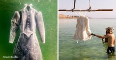 An artist plunged a dress into the Dead Sea for 2 months, and here's the result