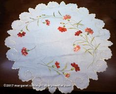 Society Silk table topper with lovely thread painted carnations.