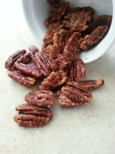 Quick Candied Pecans are a great addition to salads, ice cream, or for a quick snack. #glutenfree #vegetarian #snack